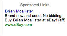 Brian Mcallister on Ebay