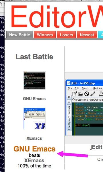 GNU Emacs beats XEmacs 100%